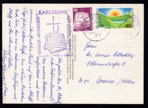 """Cachet BODENSEE-MOTORSCHIFF """"KARLSRUHE"""" Heimathafen: Konstanz"""