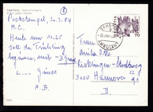 BAHNPOST AMBULANT 20.III.84 8323 auf CAK (Engelberg Blick gegen Hahnen)