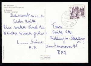 BAHNPOST AMBULANT 14.XII.82 4771 auf CAK (Au paturage des Franches-Montagnes)