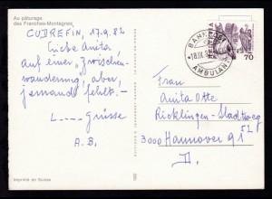 BAHNPOST AMBULANT 18.IX.82 4406 auf CAK (Au paturage des Franches-Montagnes)