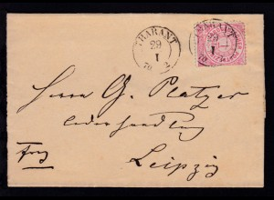 B. AUSGABE. B. 30 als Ankunftsstempel rs auf Brief ab Tharandt 29.I.70