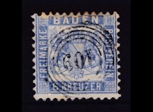 Wappen 6 Kr. mit Nummernstempel 109 (= Pforzheim), obere Zähnung verfärbt