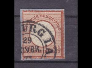 Adler mit großem Schild 2½ Gr. auf kleinem Briefstück mit Hufeisenstempel