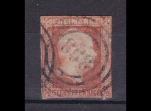 König Friedrich Wilhelm IV. 6 Pfg. mit Nummernstempel 393 (= Erxleben)