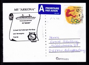 OSt. Reykjavik 1.7.1996 auf Postkarte mit Cachet MS Arkona nach Aschaffenburg
