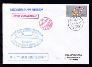 OSt. Kiel 10.6.94 + Cachet MS Fedor Dostojewski auf Brief