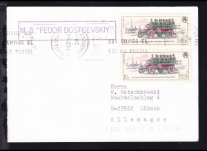 """OSt. Santa Cruz de Tenerife 27.12.94 + R1 M.S. """"FEDOR DOSTOEVSKIY"""" auf Postkarte"""