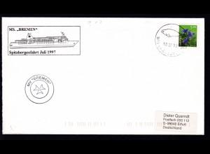 OSt. Alesund 10.07.97+ Cachet MS Bremen Spitzbergenfahrt auf Brief (Langformat)