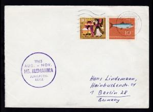 OSt. Hamburg 14.8.65 + cachet MS Alemannia Jungfernreise auf Brief