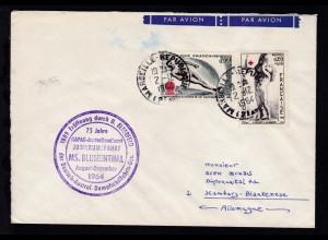 OSt. Marseille 2.12.1964 + Cachet Jubiläumsfahrt MS Blumenthal auf Brief