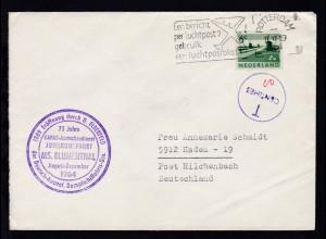 OSt. Rotterdam 11.XII.1964 + Cachet Jubiläumsfahrt MS Blumenthal auf Brief