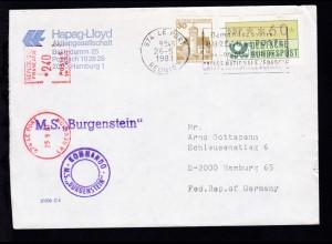 OSt. Le Port Reunion 26.5.1981 + Cachet MS Burgenstein auf Brief