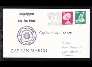 OSt. Bremen 28.5.80 + Cachet MS Cap San Marco auf Brief