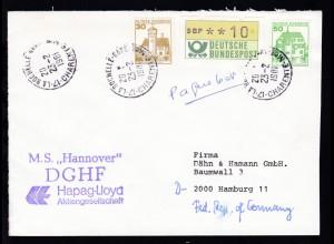 """hs Paquebot + OSt. La Rochelle 23.2.1981 + L2 M.S. """"Hannover"""" DGHF auf Brief"""