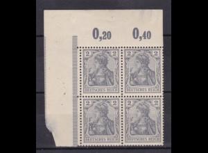 Germania Deutsches Reich 2 Pfg., Eckrand-Viererblock, Marken **,