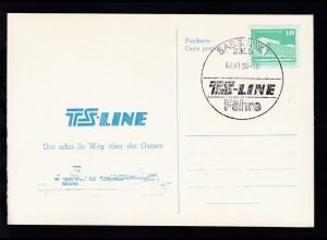 SASSNITZ 1 2355 TS-LINE Fähre 02.01.90 auf Sonderpostkarte ohne Anschrift