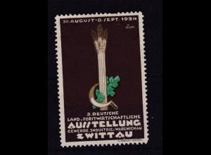 Vignette 1924 3. Deutsche Land. u. Forstwirtschaftliche Ausstellung Zwittau, *