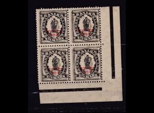 Bayernabschied mit Aufdruck 2½ Eckrandviererblock, 3 Marken **, 1 Marke *,