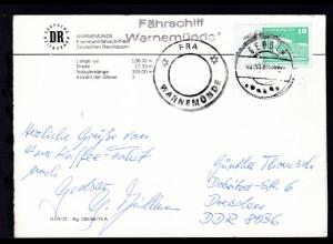 "K2 FRA WARNEMÜNDE + OSt. Gedser ?.10.87 + L2 Fährschiff ""Warnemünde"" auf CAK"