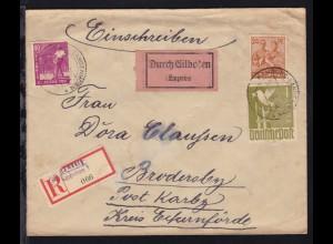 II. Kontrollratsausgabe 24 Pfg., 40 Pfg. und 1 RM auf Eilboten-R-Brief ab