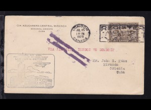 Ertsflugbrief London (Canada)-Detroit (USA) ab London Canada JUL 15 1929