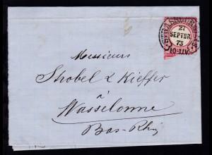 STRASSBURG i. ELS. 27 SEPTBR 73 auf Brief nach Wassselonne
