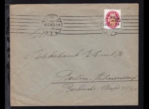 Nothilfe 1926 Wappen 10 + 10 Pfg. auf Brief (rs Absenderdruck Johs. Uckermann