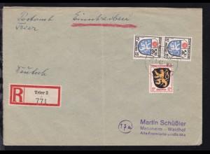 Wappen 12 Pfg. und 15 Pfg. (senkr. Paar) auf R-Brief ab Trier 20.1.46