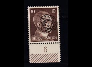 Hitler 10 Pfg. mit Aufdruck Unterrandstück,**, Neudruck ?