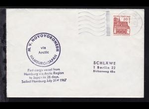 OSt. Hamburg 29.7.69 + Cachet MV Novovoronesh auf Brief