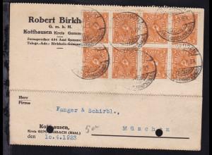 Posthorn 5 M. Achterblock auf Firmenpostkarte (Robert Birkholz GmbH,