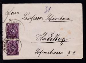 Posthorn 2 M. senkr. Paar auf Brief ab Pirmasens 20 JUL 22 nach Heidelberg