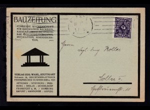 """Posthorn 20 M. Walzendruck auf Postkarte der """"Bauzeitung"""" ab München 10.5.23"""