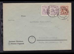 AM-Post 3 Pfg. (waager. Paar) und 10 Pfg. auf Brief ab Bremen-Vegesack 10.4.46
