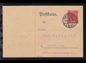 Posthorn 3 M. auf Postkarte ab Heidenau Nord 14.11.22 nach Dresden