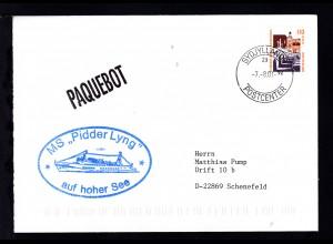 L1 PAQUEBOT + Ost. Sydjyllands 7.8.01 + Cachet MS Pidder Lyng auf Brief