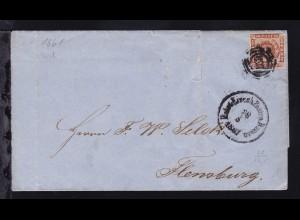 Kroninsignien 4 S. auf Brief mit Dreiringstempel 168 (= Bahnhof Kiel) + K1