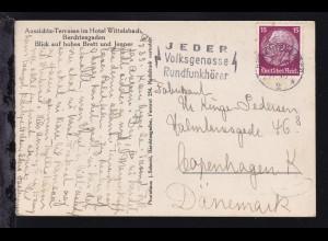 Hindenburg 15 Pfg. auf AK (Berchtesgaden Aussichts-Terrasse im Hotel
