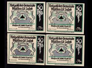 Notgeld der Gemeinde Mülsen St Jakob 1921 Serie von 8 Scheinen a 50 Pfg.
