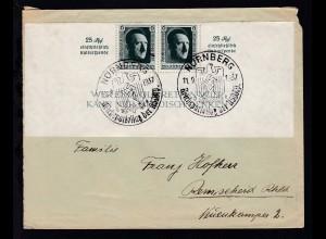 Block 9 untere Blockhälfte auf Brief mit Sonderstempel Nürnberg nach Remscheid,