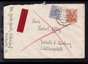 II. Kontrollratsausgabe 24 Pfg. und 80 Pfg. auf Eilbrief ab Berlin-Adlershof