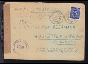 Ziffer 75 Pfg. auf Brief ab Eberswalde 2.11.46 nach Amstetten in