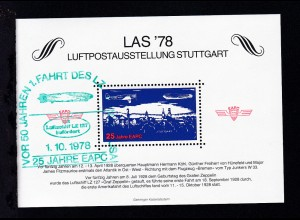 LAS '78 Luftpostausstellung Stuttgart Vignettenblock