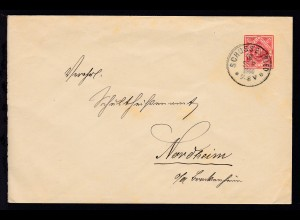 Ziffer 10 Pfg. mit K1 SCHUSSENRIED 16 SEP 1900 nach Nordheim