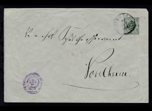 Ziffer 5 Pfg. mit K1 KLEINGARTACH 17 OKT 1900 als Dienstbrief des