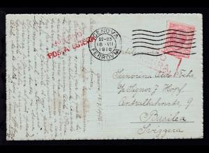 AK ab Genua 18.VII.1916 nach Basel/Schweiz mit Zensurstempel