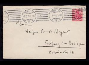 Germania 40 Pfg. auf Brief ab München 8.11.20 nach Freiburg im Breisgau