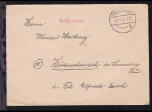 OSt. Probstzella 5.11.45 + L1 Gebühr bezahlt auf Brief nach Hüttensteinach bei