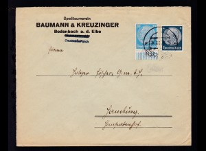 BODENBACH 1 5c 10.XII.38 auf Firmenbrief Spediteurverein Baumann & Kreuzinger,