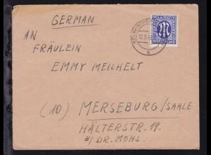 AM POST 25 Pfg. auf Brief ab Neunkirchen (Kr. Siegen) 12.5.46 nach Merseburg/